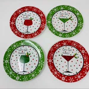 Other - 222 Fifth 4 Christmas China Plates Dessert Apps